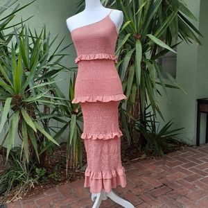 Asymmetrical Tiered Ruffle Bodycon Dress